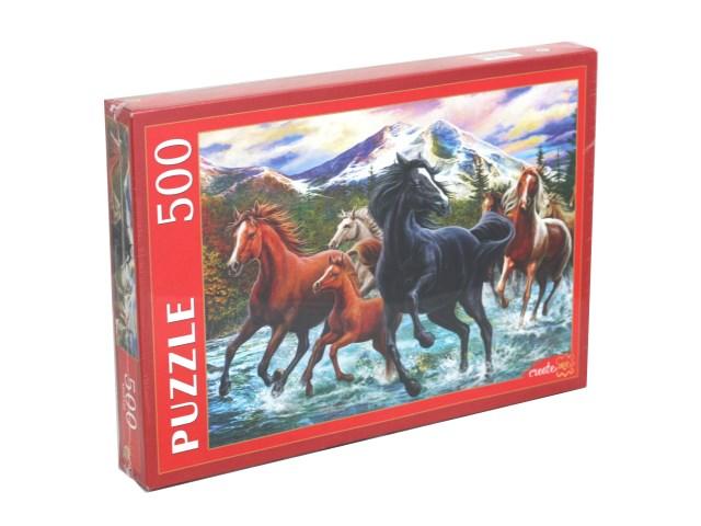 Пазлы  500 деталей Рыжий кот Табун диких лошадей Х500-2187