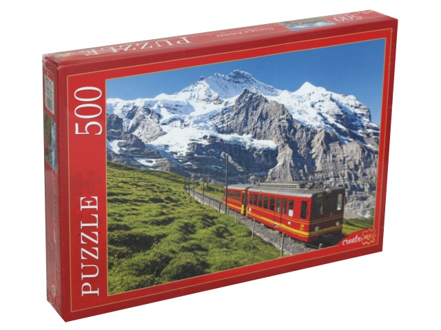 Пазлы  500 деталей Рыжий кот Поезд в Альпах КБ500-7920