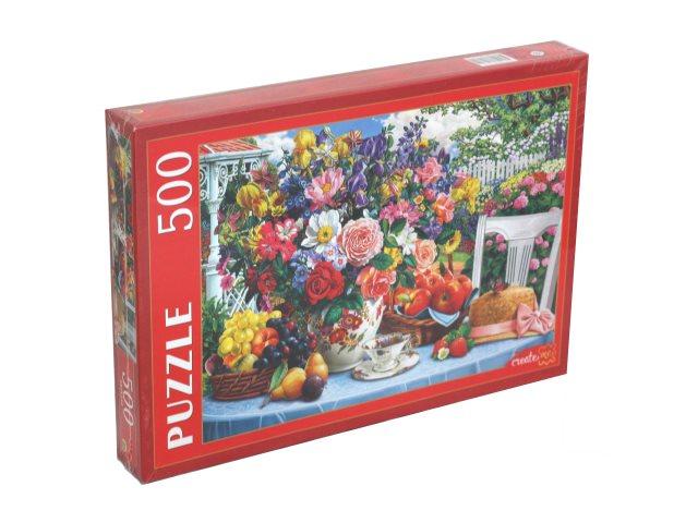 Пазлы  500 деталей Рыжий кот Летний натюрморт в саду Ф500-2179
