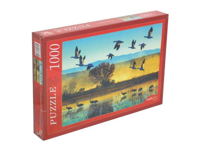Пазлы 1000 деталей Рыжий кот Стая птиц КБ1000-6874