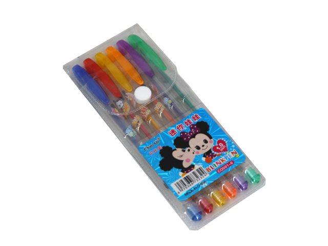 Ручка гелевая набор  6цв Basir Мышата 0.5мм CQ-501-6