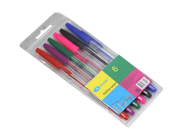 Ручка шариковая набор  6цв Basir 0.5мм МС-3410-6