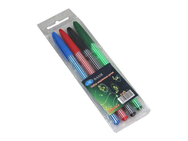 Ручка шариковая набор  4цв Basir 0.5мм МС-2124-4