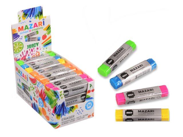 Ластик Mazari Juicy прямоугольный цветной 6.8*1.5*1.5см M-6771