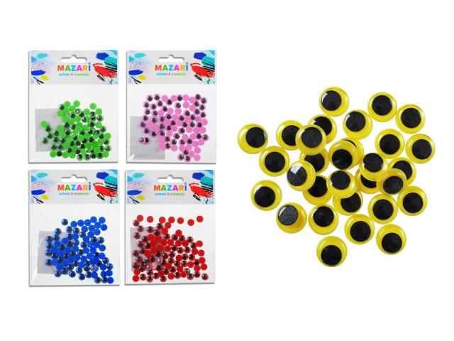 Декоративные элементы Глазки  8 мм 80 шт. цветные Mazari M-4325