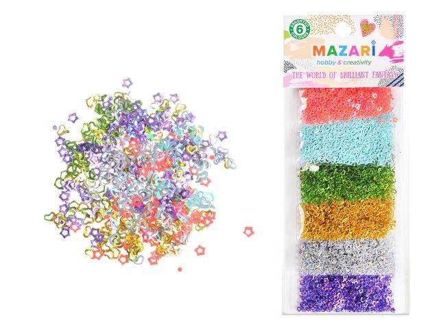 Декоративные элементы Конфетти  6 шт. по 3 г ассорти Mazari М-4338