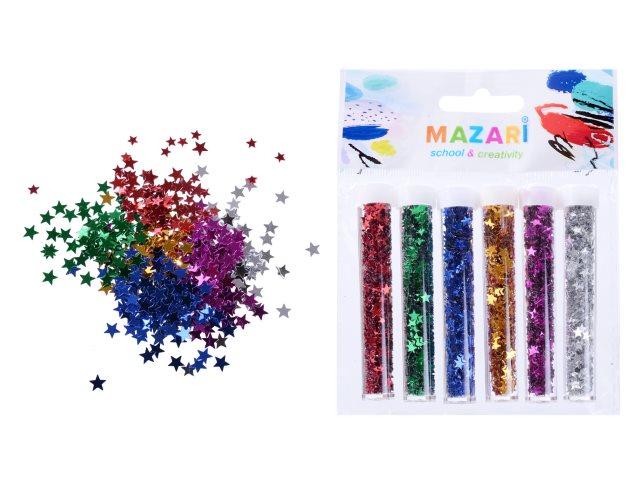 Декоративные элементы Звездочки 6 цв по 2.5г Mazari M-9806