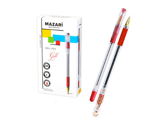 Ручка шариковая Mazari Gold красная 0.5мм M-5739