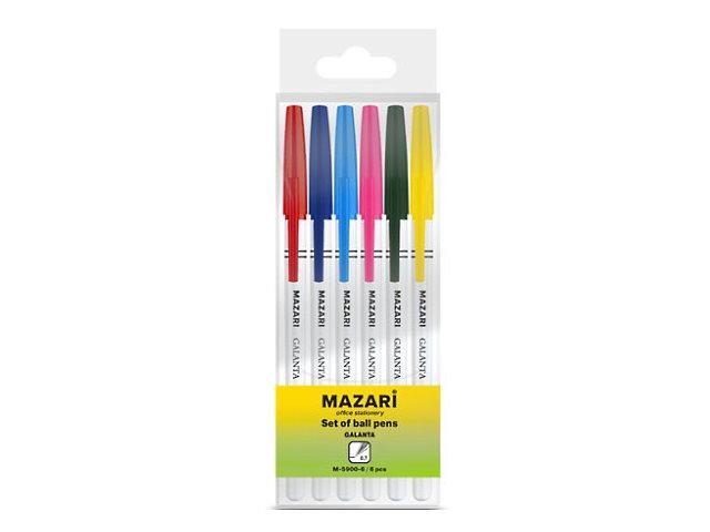 Ручка шариковая набор  6цв Mazari Galanta 0.7мм М-5900-6