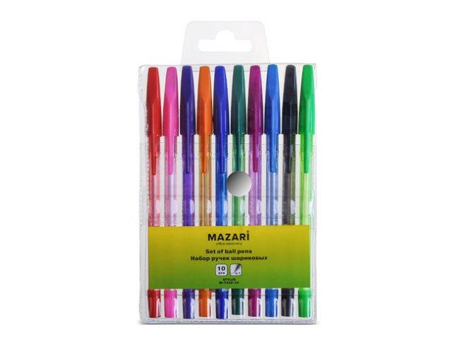 Ручка шариковая набор 10цв Mazari Stylus 0.7мм М-7302-10