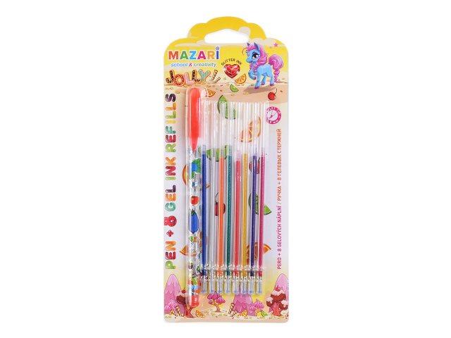 Ручка гелевая детская Mazari Jolly 1мм + 8 стержней с глиттером M-5541