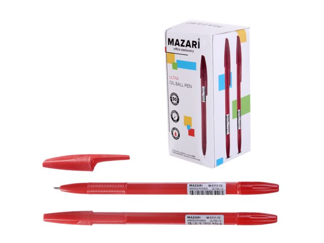 Ручка масляная Mazari Ultra красная 1мм M-5711-72