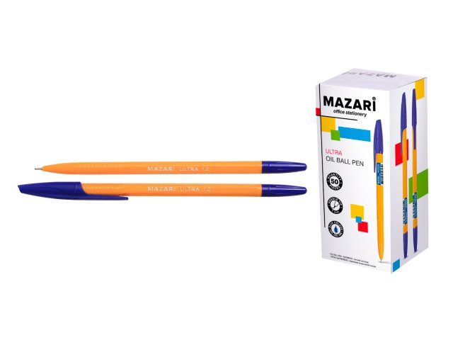 Ручка масляная Mazari Ultra синяя 1мм M-5713-70