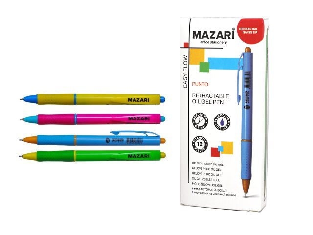 Ручка масляная автомат Mazari Punto синий 0.7мм M-5767