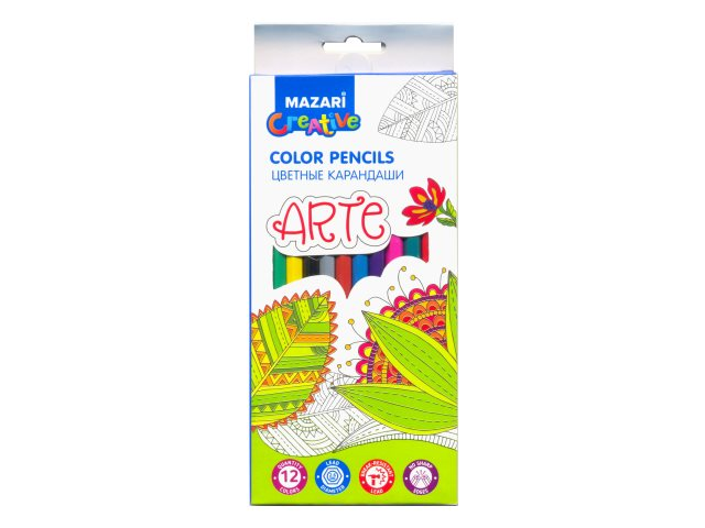 Карандаши цветные 12цв Mazari Arte пластик шестигранные M-6171-12