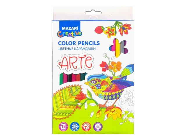 Карандаши цветные 18цв Mazari Arte пластик шестигранные M-6171-18