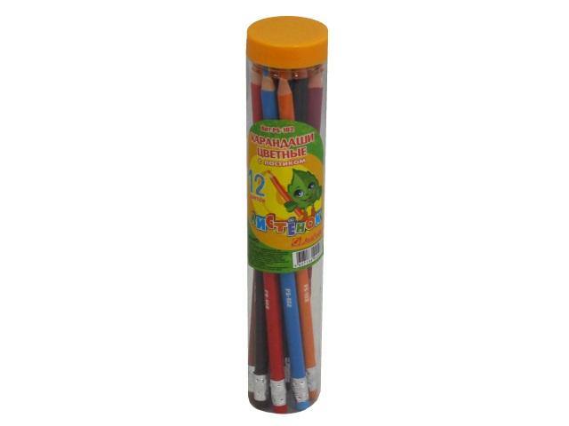 Карандаши цветные 12цв J.Otten Листёнок трехгранные в тубусе PS-102