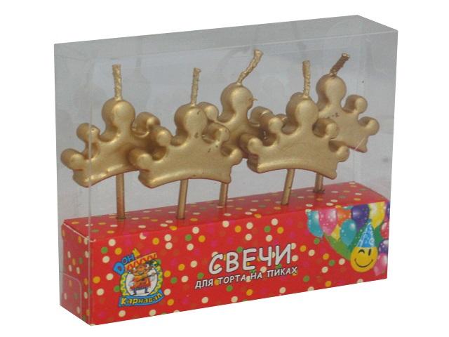 Свечи для торта  5 шт. на пиках Miland Карнавал Корона С-6008