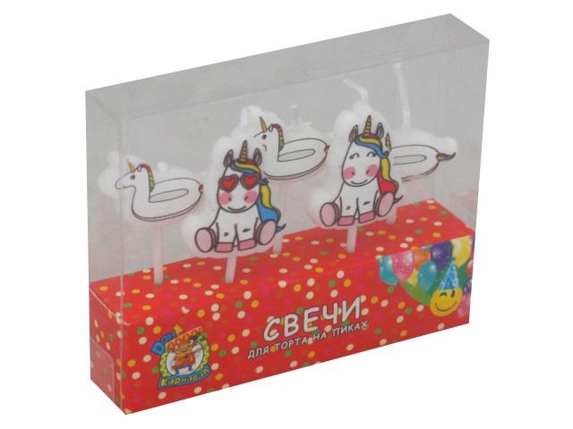 Свечи для торта  5 шт. на пиках Miland Карнавал Веселые единороги С-6023