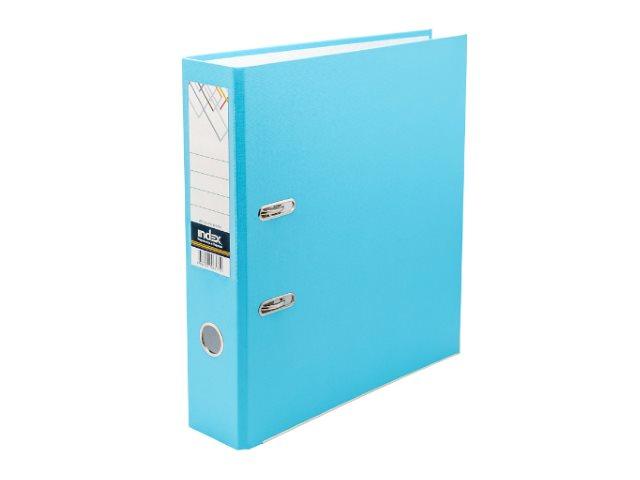 Регистратор  А4/80 Index голубой с металлической окантовкой 8/24 PVC NEW ГОЛ