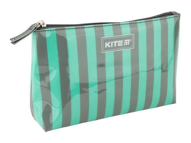 Косметичка Kite силикон Полоска серо-зеленая 22*13*6см K20-628-1