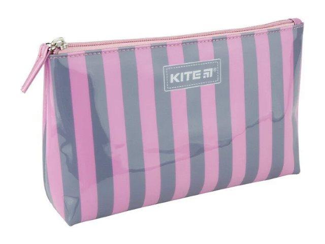 Косметичка Kite силикон Полоска серо-розовая 22*13*6см K20-628-2