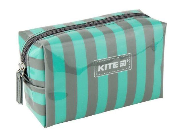 Косметичка Kite силикон Полоска серо-зеленая 16*10*6см K20-637-1