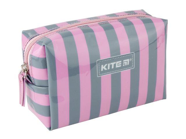 Косметичка Kite силикон Полоска серо-розовая 16*10*6см K20-637-2