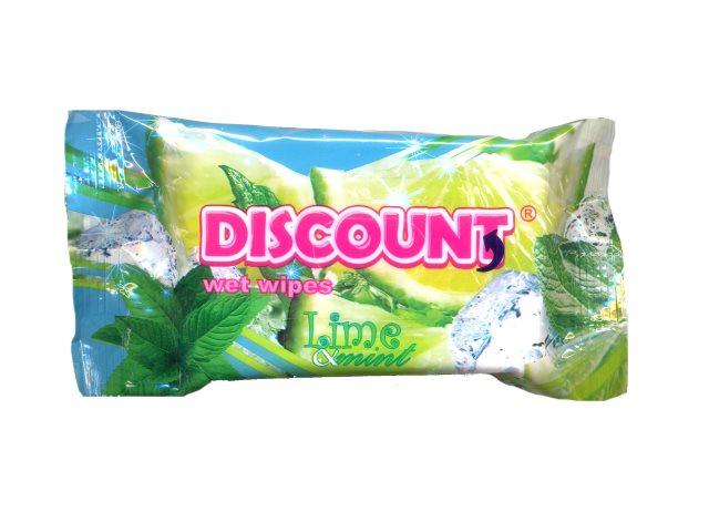 Салфетки влажные 15 шт. Мята и лимон Discount