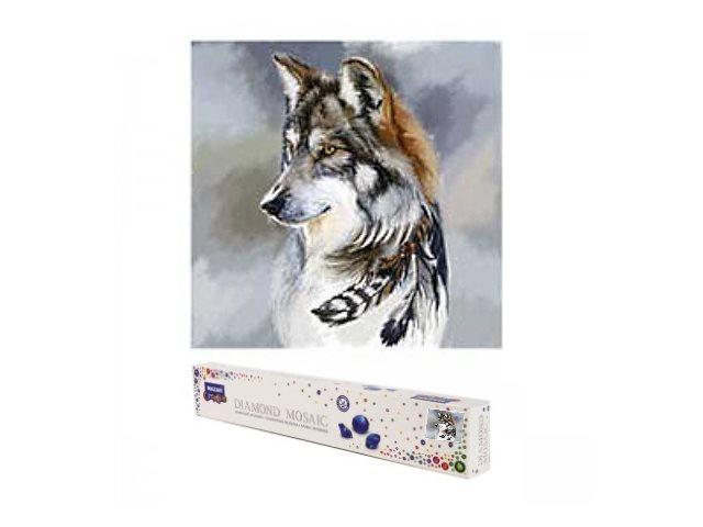 Алмазная мозаика без подрамника 30*30см Mazari Волк с перьями M-10529