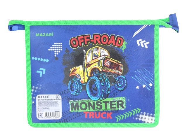 Папка для тетрадей А5 на молнии Mazari Monster Truck M-16084