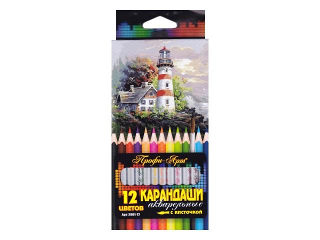 Карандаши цветные 12цв J.Otten Профи-Арт акварельные + кисть 2001-12