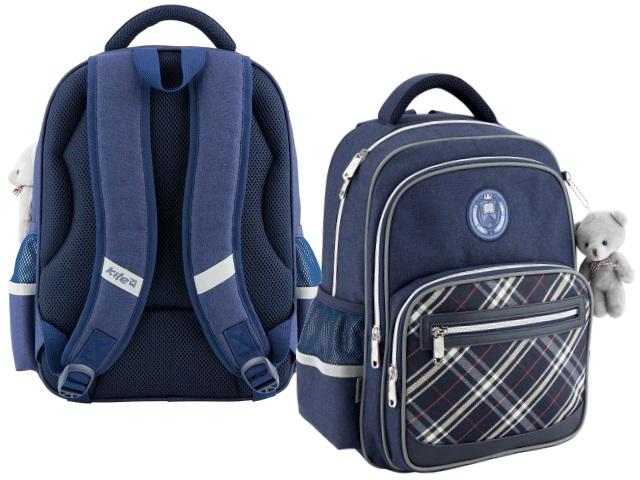 Рюкзак Kite College Line 38*28*15см синий с брелком K18-738M-2
