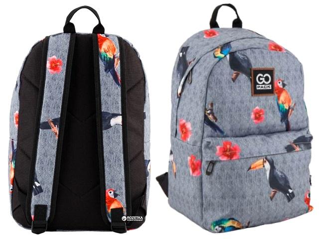 Рюкзак Kite GoPack Попугаи 42.5*30*16см серый GO18-125L-1