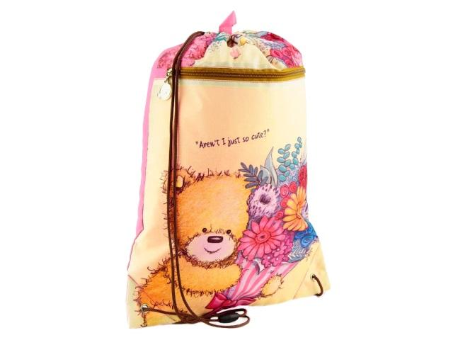 Сумка для обуви с карманом Kite Popcorn the Bear 46*33см розовая PO18-601M-2