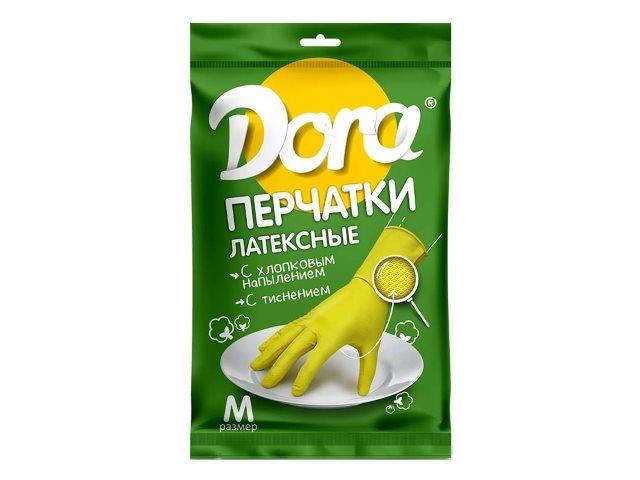 Перчатки резиновые Dora с хлопковым напылением размер М 2004-001\12