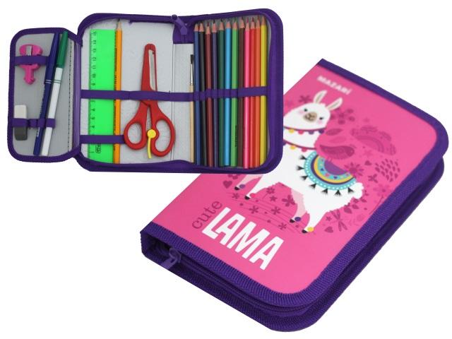Пенал с наполнением 1 отделение Cute Lama для девочек