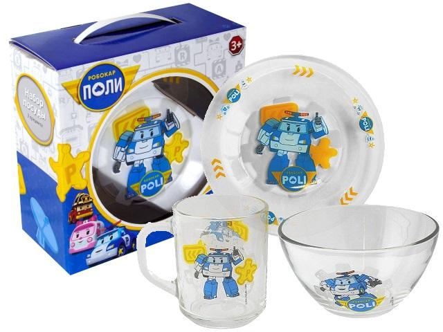 Посуда стекло 3 предмета NDPlay Робокар Поли 75868