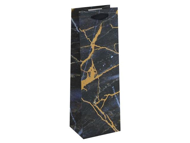 Пакет подарочный бумажный под бутылку 36*12*8.5см Мрамор Miland ППД-9683