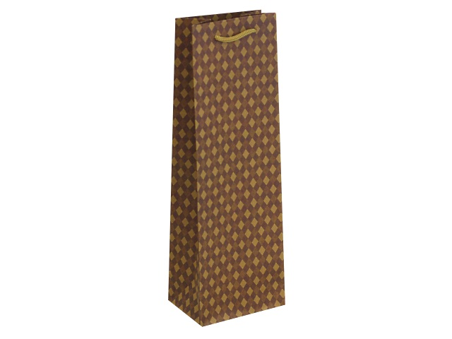 Пакет подарочный бумажный под бутылку Miland крафт Стильные ромбы ППД-0135