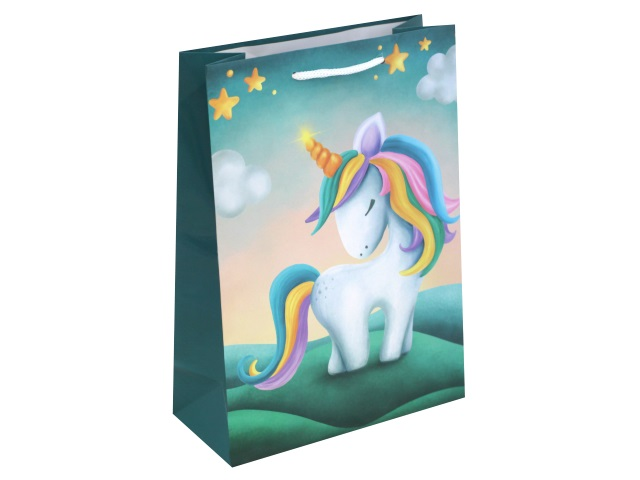 Пакет подарочный бумажный 22*31*10см Очаровательный единорог Miland ПП-4760