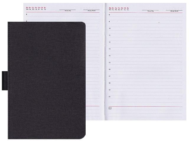 Ежедневник А5 тв/переплёт 128л Апплика Ткань черный на резинке С5889-01