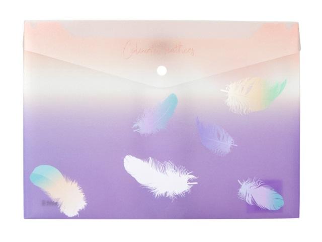 Папка конверт на кнопке А4 Axent Colourful Feather сиреневая 1432-92-A
