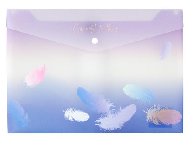 Папка конверт на кнопке А4 Axent Colourful Feather синяя 1432-93-A