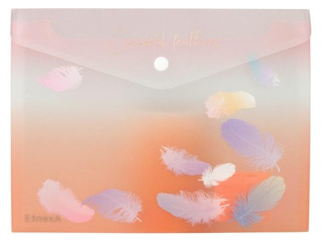 Папка конверт на кнопке А4 Axent Colourful Feather розовая 1432-94-A
