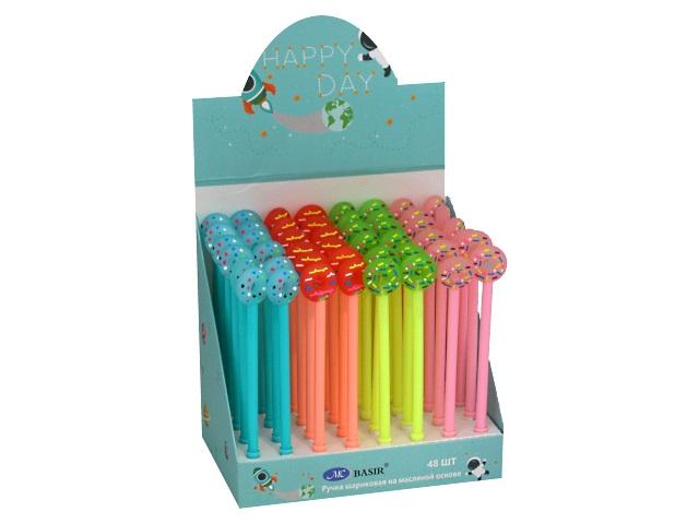Ручка масляная детская Basir МС-4765 Пончик синяя 0.5мм