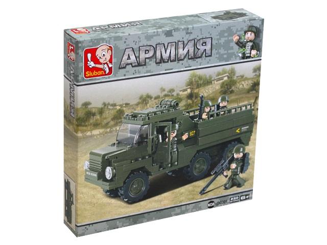 Конструктор  230 деталей Армия На фронт Зеленый грузовик Sluban M38-B0301