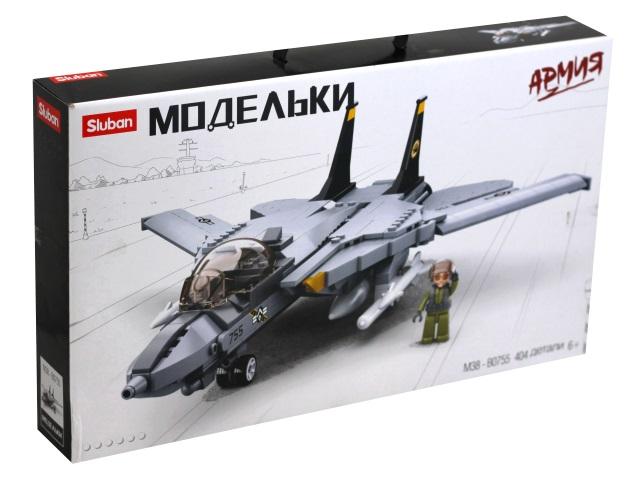 Конструктор  396 деталей Sluban Модельки Истребитель F14 M38-B0755