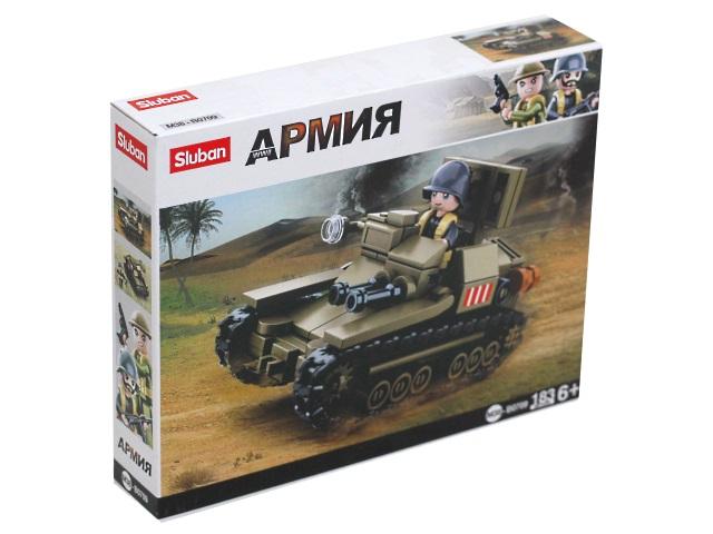 Конструктор  182 детали Армия Итальянская армия Танк Sluban M38-B0709