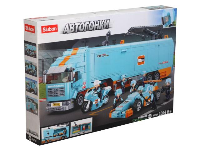 Конструктор 1044 детали Автогонки Заезд с трейлером Sluban M38-B0766